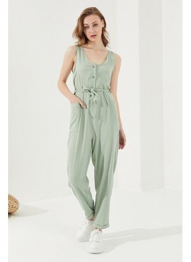 Reyon REYON Kadın Cepli Askılı Tulum Mint Yeşili Yeşil